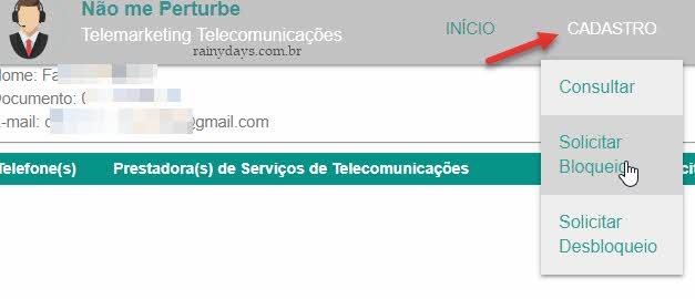 Solicitar bloqueio Não me perturbe telemarketing telecomunicações