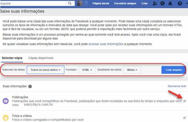 Solicitar cópia de todas suas informações no Facebook