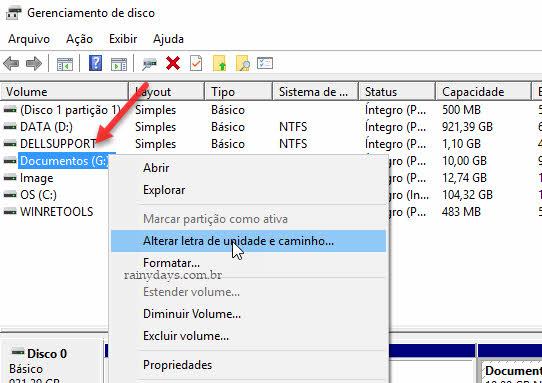 Alterar letra de unidade e caminho drive ou partição Windows