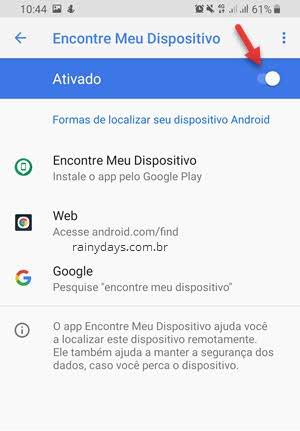 Ativar Encontre Meu Dispositivo Google Android para bloquear remotamente
