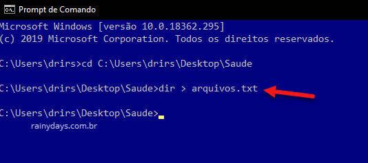 Comando dir filenamen para criar arquivo txt com nomes dos arquivos