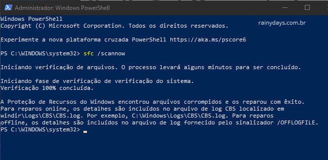 comando sfc scannow no Windows PowerShell administrador