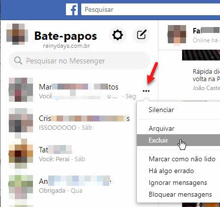 Como excluir mensagens do Facebook pelo site