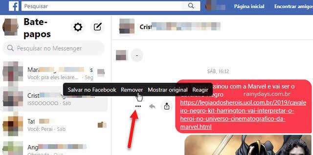 Como excluir mensagens individuais na conversa do Facebook pelo site