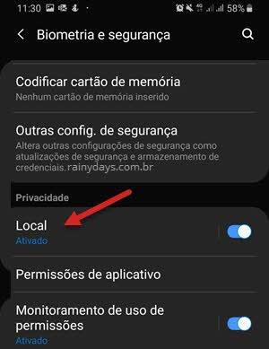 configurações Local localização Android Samsung