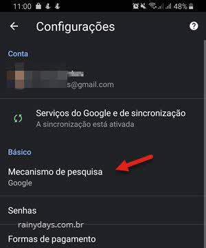 Configurações mecanismo de pesquisa Chrome Android