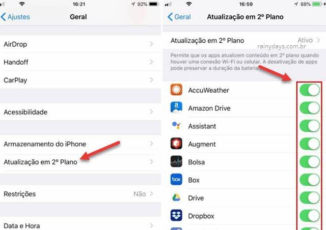 Aplicativo gastando bateria, desativar atualização em 2 segundo plano iPhone iPad