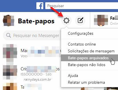 ícone engrenagem Facebook mensagens bate-papo arquivados