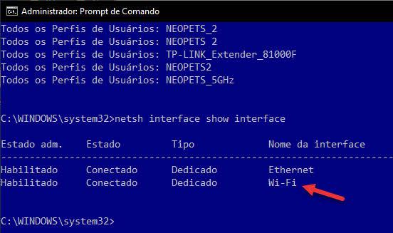 Interface sem fio não existe verificar nome da interface comando Windows