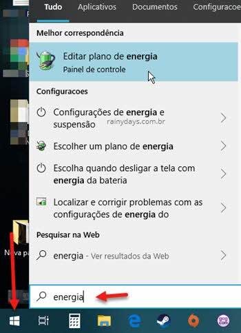 Menu iniciar energia Editar plano de energia Painel de Controle Windows