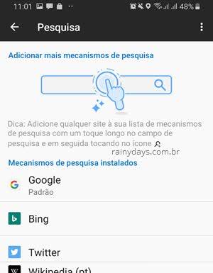 Modificar pesquisa padrão aplicativo Firefox