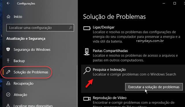 Solução de problemas Windows Pesquisa e Indexição barra de pesquisa