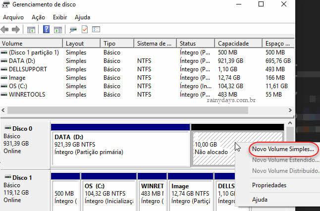 Volume não alocado Novo volume simples partição Windows