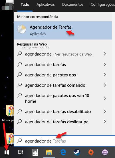 Abrir Agendador de Tarefas pela busca do Windows