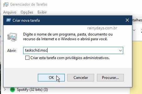 Abrir Agendador de Tarefas pelo Gerenciador de Tarefas do Windows