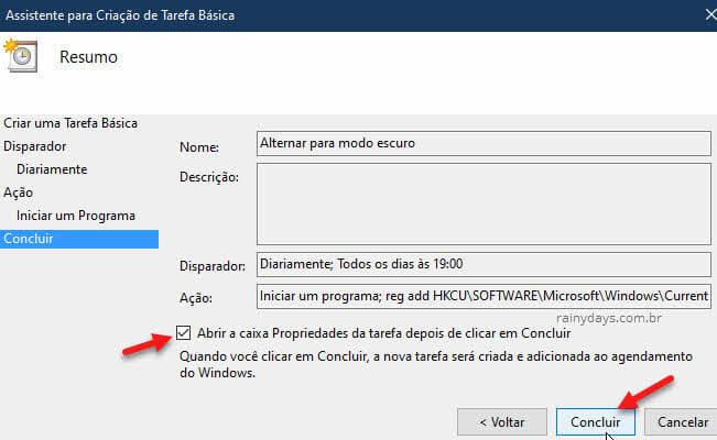Abrir propriedades da tarefa Concluir tarefa básica Windows