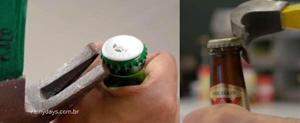 Abrir tampa de garrafa com martelo