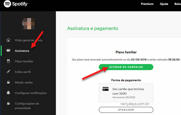 Alterar ou cancelar assinatura Premium do Spotify
