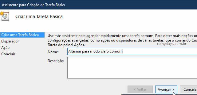 Ativar modo claro do Windows automaticamente tarefa