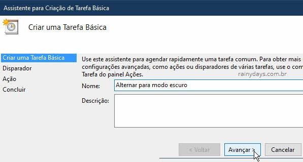 Ativar modo escuro do Windows automaticamente tarefa Windows