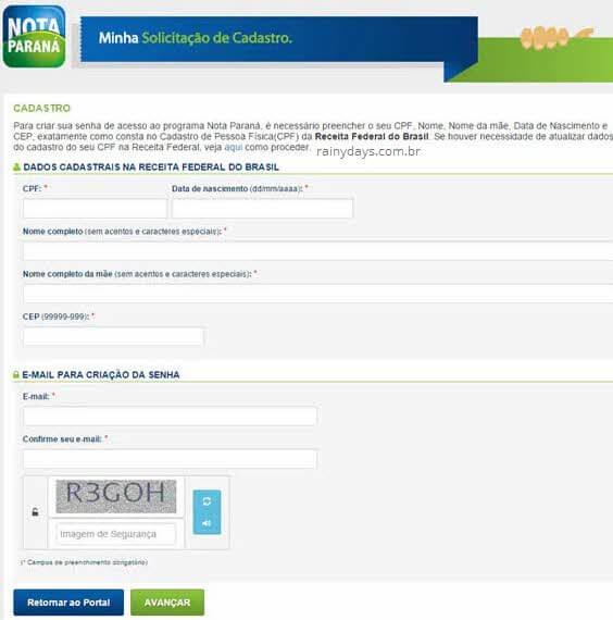 Cadastrar dados pessoais CPF nascimento nome Nota Paraná