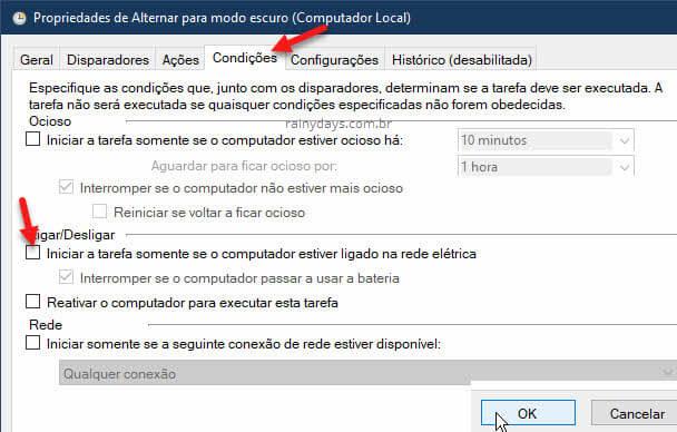 Condições Propriedades tarefa básico Windows