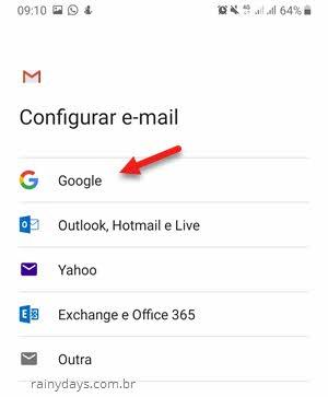 configurar email no aplicativo Gmail selecionar serviço