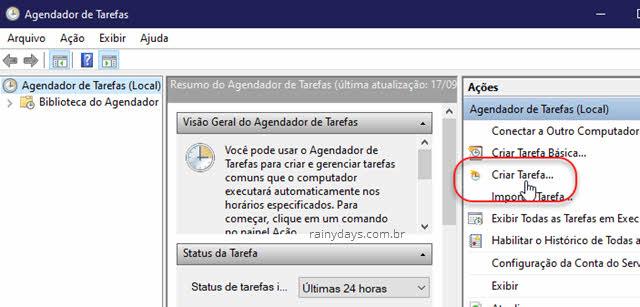 Criar Tarefa no Agendador de Tarefas do Windows