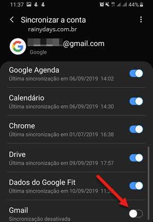 desativar sincronização do Gmail no celular Android