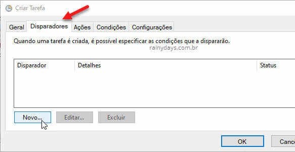 Disparadores da tarefa no Agendador do Windows