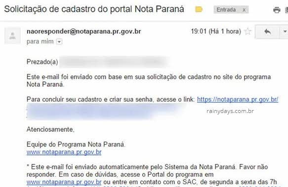 Email confirmação cadastro Nota Paraná