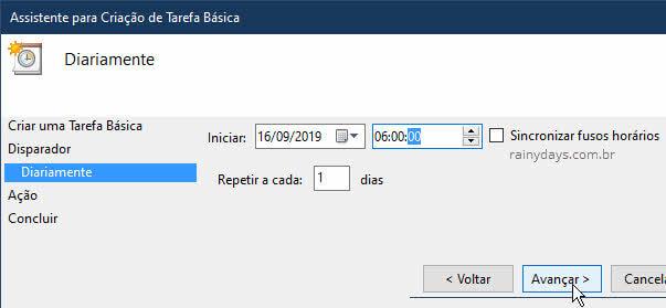 Escolher horário para iniciar tarefa modo claro Disparador Windows