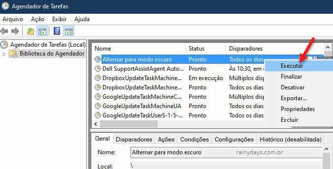 Executar tarefa agendada do Agendador para testar modo escuro Windows