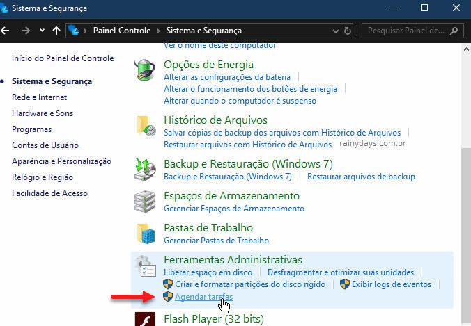 Ferramentas Administrativas Painel de Controle Agendar Tarefas Windows