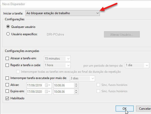 Iniciar tarefa ao bloquear estação de trabalho Disparador Agendador Windows