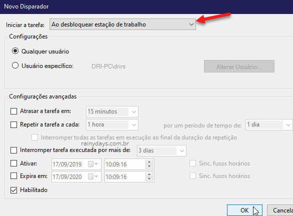 Iniciar tarefa ao desvloquear estação de trabalho Disparador Agendador Windows