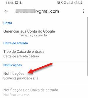 notificações Gmail Android