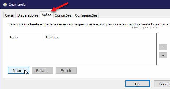 Novo Ações Criar Tarefa do Agendador do Windows
