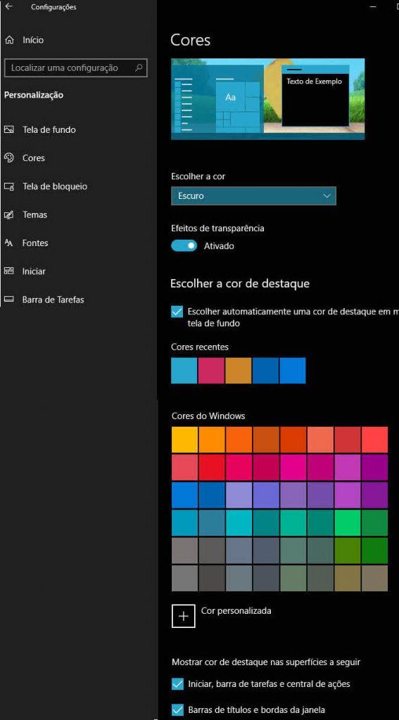 Personalização de Cores do Windows 10 escolher automaticamente cor