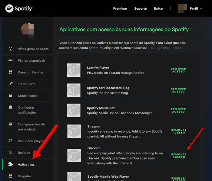 Como remover dispositivos conectados ao Spotify