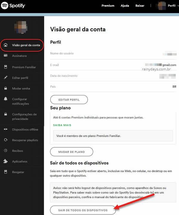 Sair de todos dispositivos conectados no Spotify deslogar remotamente