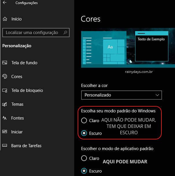Selecionar escolher a cor Personalizado configurações do Windows