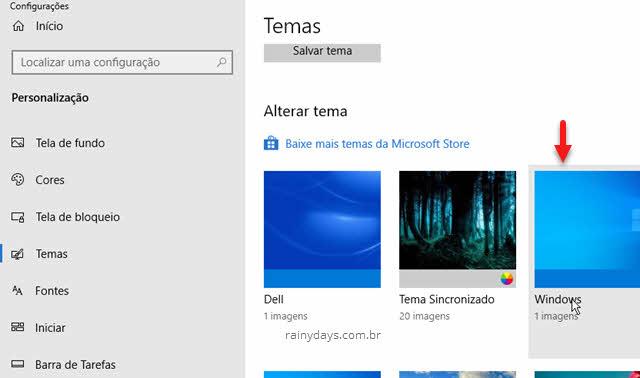 selecionar um tema nas configurações do Windows