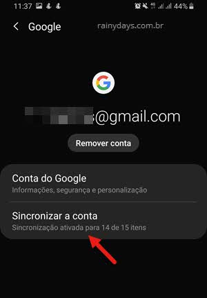 sincronizar conta Google no Android
