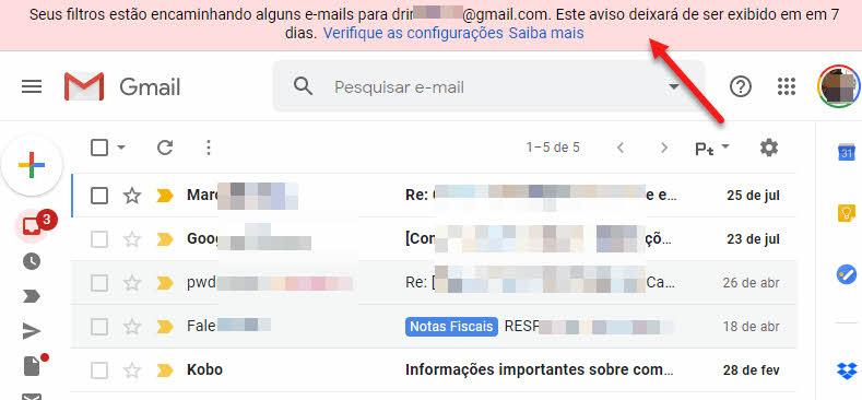 Alerta 7 dias Gmail encaminhar emails automaticamente no Gmail