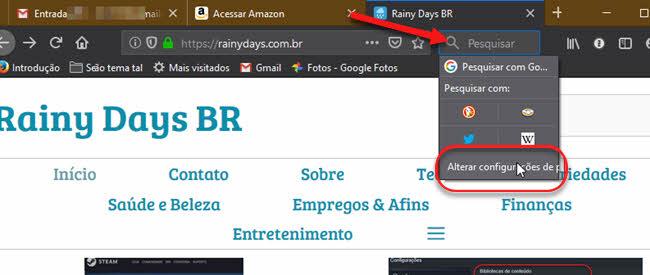 Alterar configurações de pesquisa Firefox busca