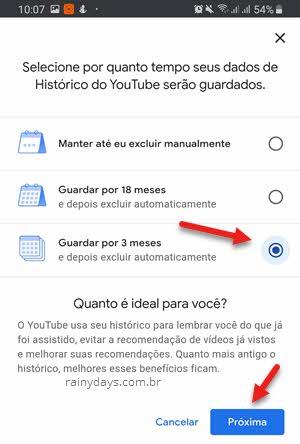 Como apagar o histórico do YouTube automaticamente 3 meses