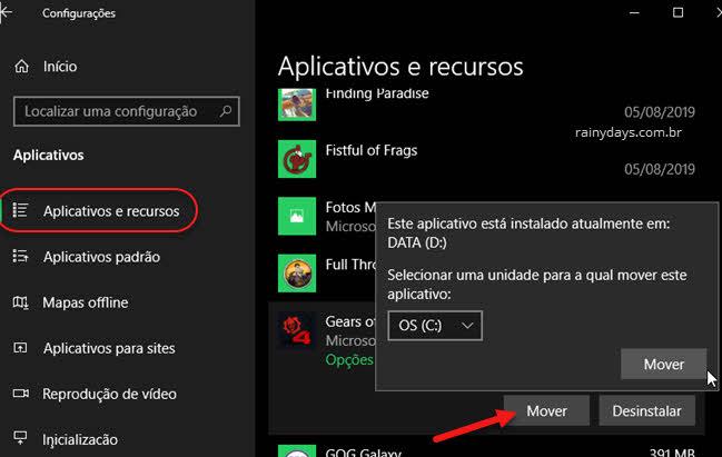 Mover app ou jogo para mudar local de salvamento da Microsoft Store