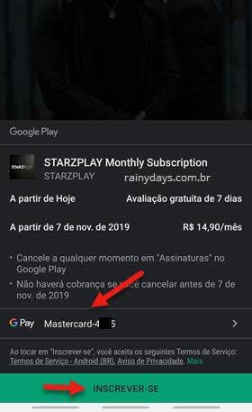 cadastrar forma de pagamento StarzPlay