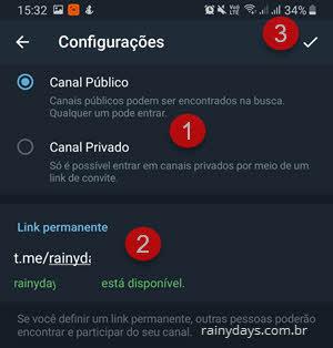 Canal público ou privado Telegram link permanente